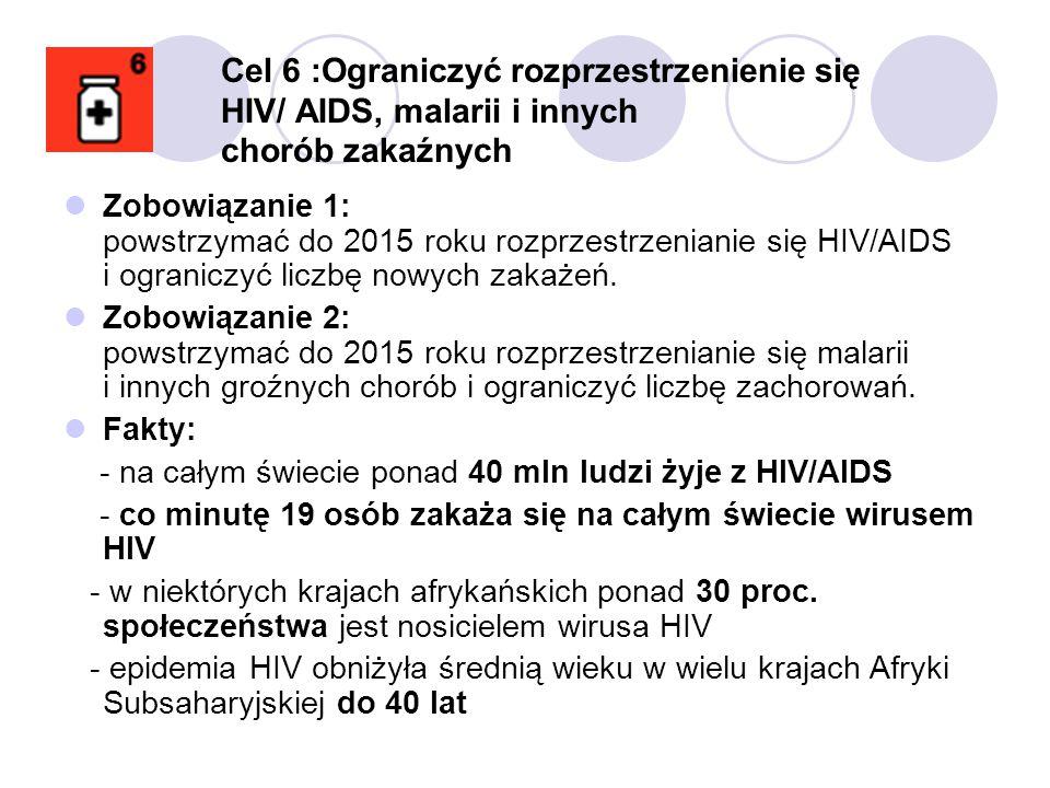 Zobowiązanie 1: powstrzymać do 2015 roku rozprzestrzenianie się HIV/AIDS i ograniczyć liczbę nowych zakażeń. Zobowiązanie 2: powstrzymać do 2015 roku