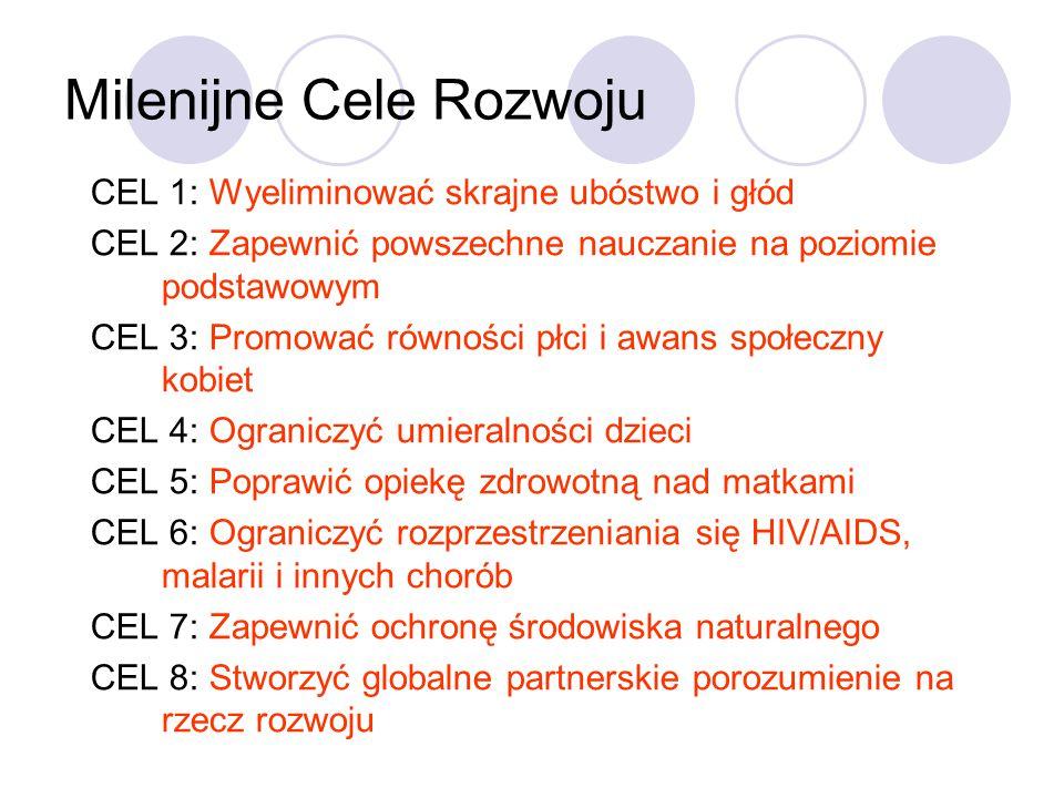 Milenijne Cele Rozwoju CEL 1: Wyeliminować skrajne ubóstwo i głód CEL 2: Zapewnić powszechne nauczanie na poziomie podstawowym CEL 3: Promować równości płci i awans społeczny kobiet CEL 4: Ograniczyć umieralności dzieci CEL 5: Poprawić opiekę zdrowotną nad matkami CEL 6: Ograniczyć rozprzestrzeniania się HIV/AIDS, malarii i innych chorób CEL 7: Zapewnić ochronę środowiska naturalnego CEL 8: Stworzyć globalne partnerskie porozumienie na rzecz rozwoju
