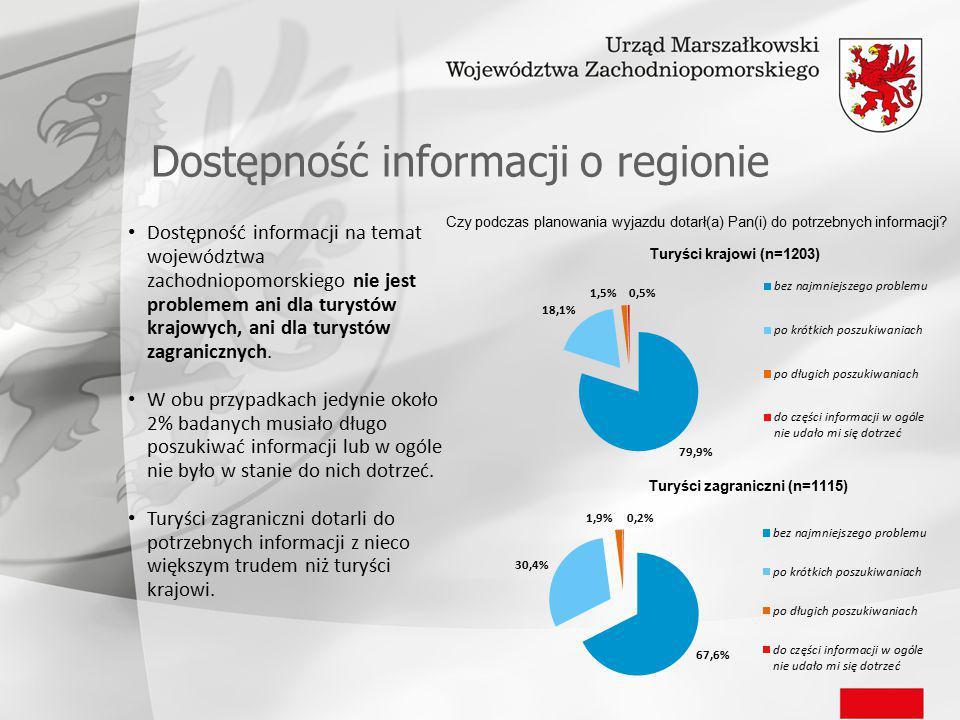 Dostępność informacji o regionie Dostępność informacji na temat województwa zachodniopomorskiego nie jest problemem ani dla turystów krajowych, ani dla turystów zagranicznych.