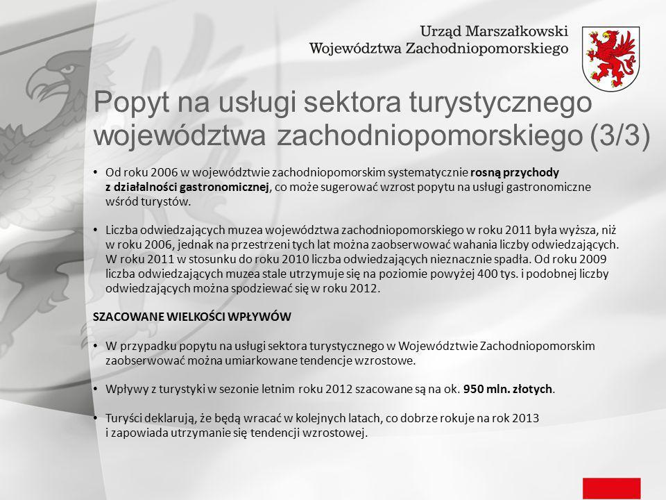 Popyt na usługi sektora turystycznego województwa zachodniopomorskiego (3/3) Od roku 2006 w województwie zachodniopomorskim systematycznie rosną przychody z działalności gastronomicznej, co może sugerować wzrost popytu na usługi gastronomiczne wśród turystów.