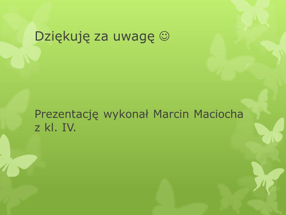 Dziękuję za uwagę Prezentację wykonał Marcin Maciocha z kl. IV.