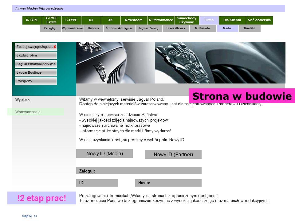 Slajd Nr 14 Witamy w wewnętrzny serwisie Jaguar Poland.