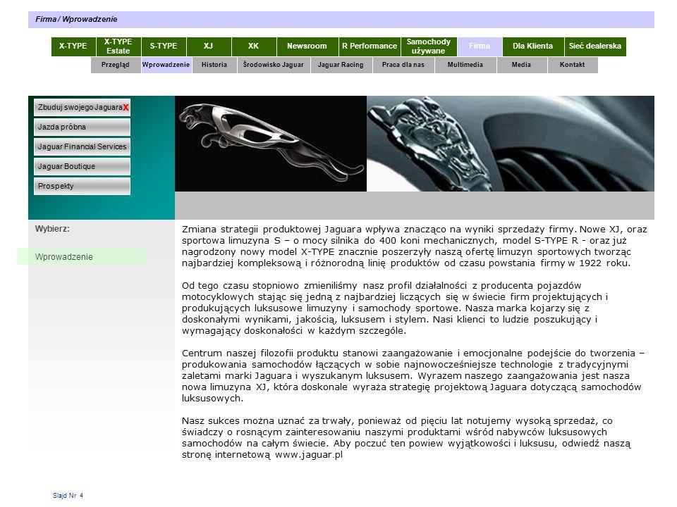 Slajd Nr 4 Zmiana strategii produktowej Jaguara wpływa znacząco na wyniki sprzedaży firmy.