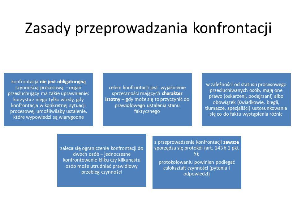 Zasady przeprowadzania konfrontacji konfrontacja nie jest obligatoryjną czynnością procesową - organ przesłuchujący ma takie uprawnienie; korzysta z n