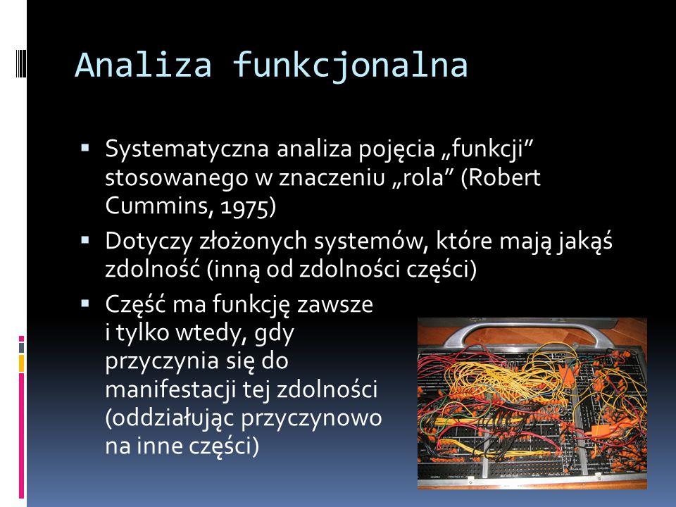 """Analiza funkcjonalna  Systematyczna analiza pojęcia """"funkcji"""" stosowanego w znaczeniu """"rola"""" (Robert Cummins, 1975)  Dotyczy złożonych systemów, któ"""