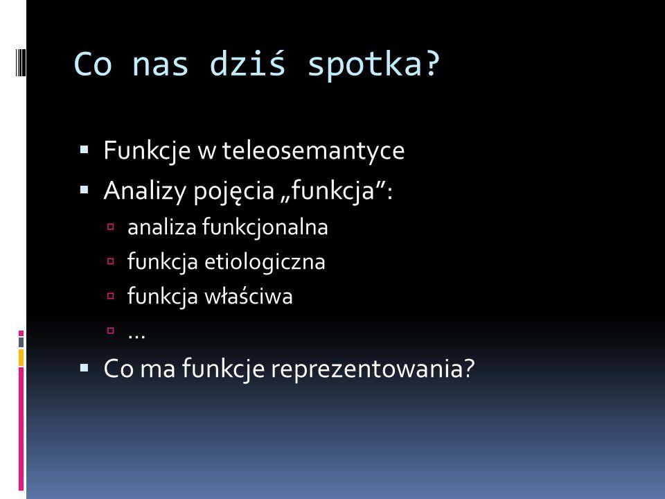 """Co nas dziś spotka?  Funkcje w teleosemantyce  Analizy pojęcia """"funkcja"""":  analiza funkcjonalna  funkcja etiologiczna  funkcja właściwa  …  Co"""