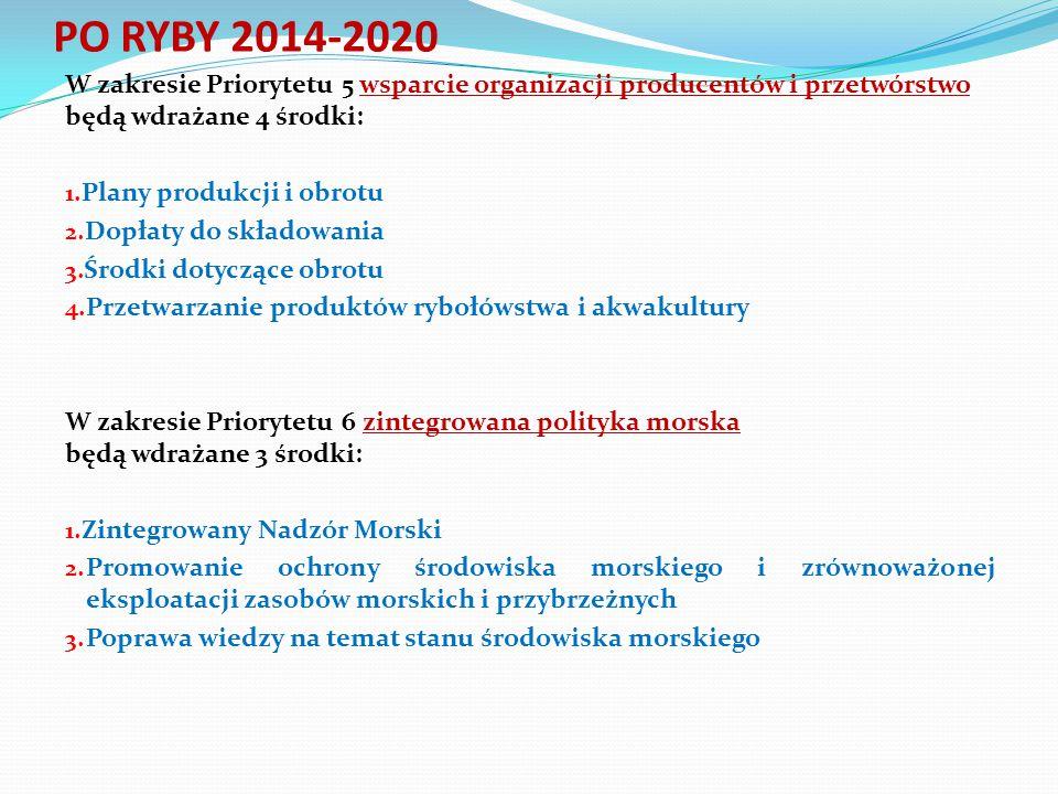 W zakresie Priorytetu 5 wsparcie organizacji producentów i przetwórstwo będą wdrażane 4 środki: 1. Plany produkcji i obrotu 2. Dopłaty do składowania