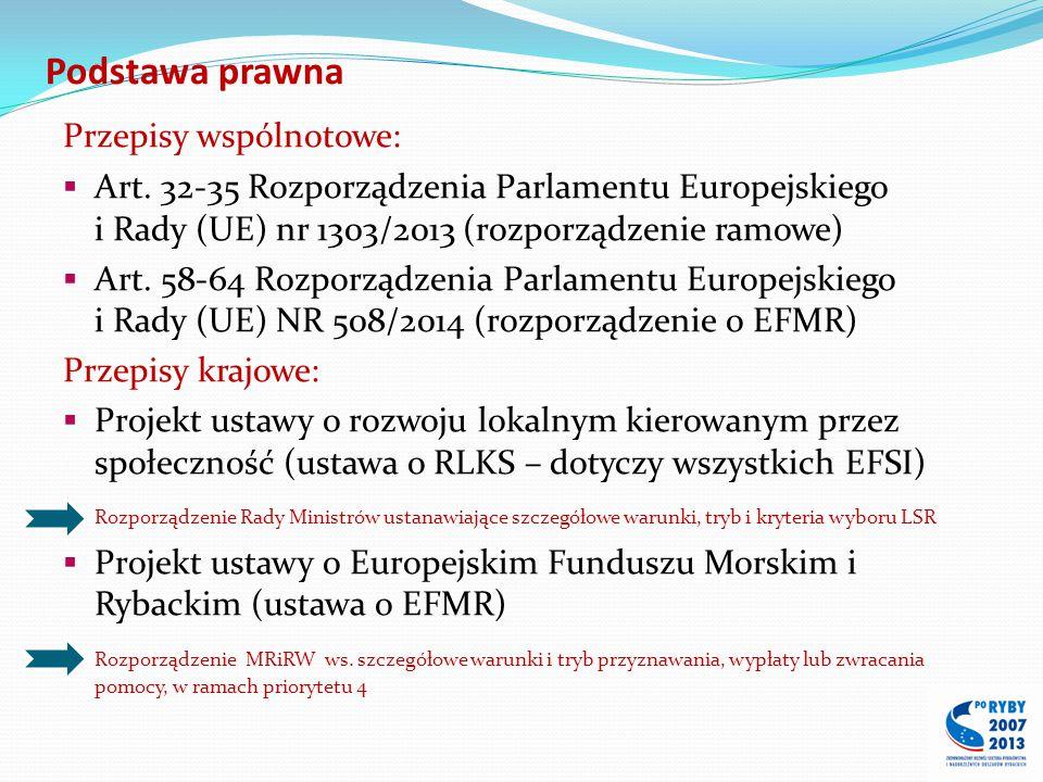 Podstawa prawna Przepisy wspólnotowe:  Art. 32-35 Rozporządzenia Parlamentu Europejskiego i Rady (UE) nr 1303/2013 (rozporządzenie ramowe)  Art. 58-
