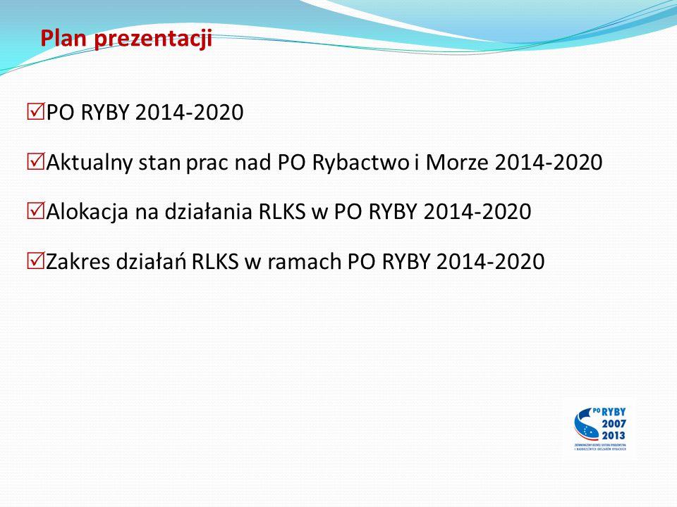 Plan prezentacji  PO RYBY 2014-2020  Aktualny stan prac nad PO Rybactwo i Morze 2014-2020  Alokacja na działania RLKS w PO RYBY 2014-2020  Zakres