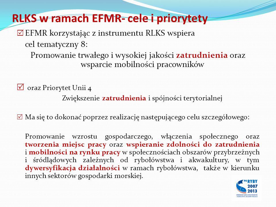 RLKS w ramach EFMR- cele i priorytety  EFMR korzystając z instrumentu RLKS wspiera cel tematyczny 8: Promowanie trwałego i wysokiej jakości zatrudnie