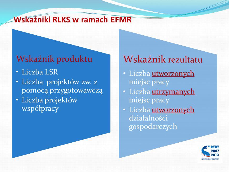 Wskaźniki RLKS w ramach EFMR Wskaźnik produktu Liczba LSR Liczba projektów zw. z pomocą przygotowawczą Liczba projektów współpracy Wskaźnik rezultatu