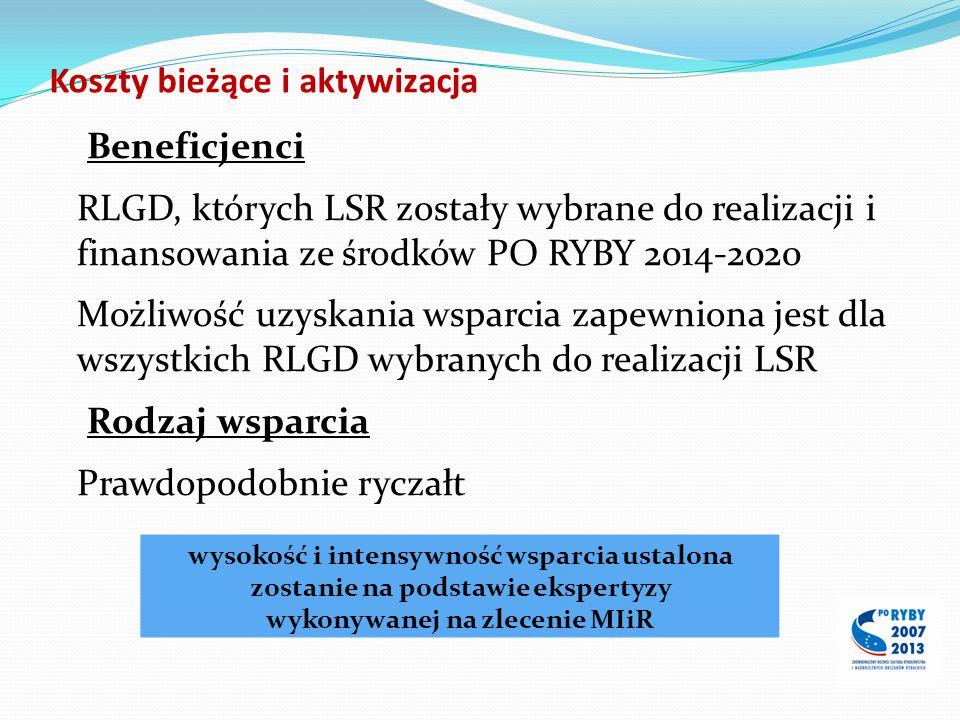 Koszty bieżące i aktywizacja Beneficjenci RLGD, których LSR zostały wybrane do realizacji i finansowania ze środków PO RYBY 2014-2020 Możliwość uzyska