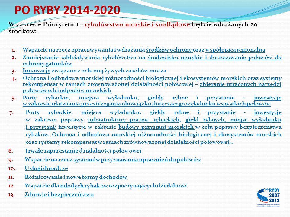 W zakresie Priorytetu 1 – rybołówstwo morskie i śródlądowe będzie wdrażanych 20 środków: 1.Wsparcie na rzecz opracowywania i wdrażania środków ochrony