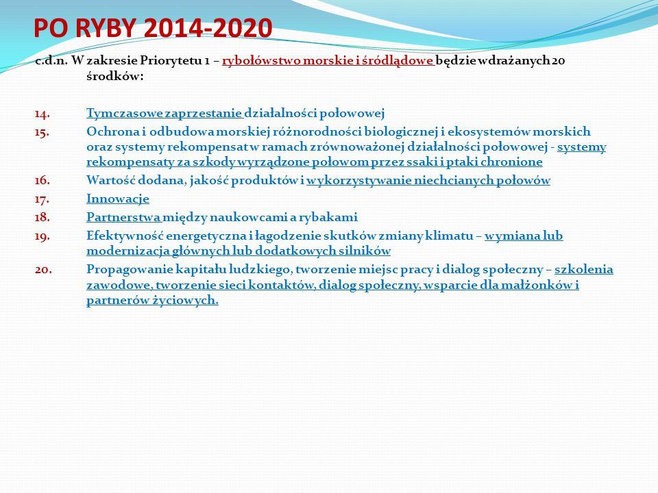 c.d.n. W zakresie Priorytetu 1 – rybołówstwo morskie i śródlądowe będzie wdrażanych 20 środków: 14.Tymczasowe zaprzestanie działalności połowowej 15.O