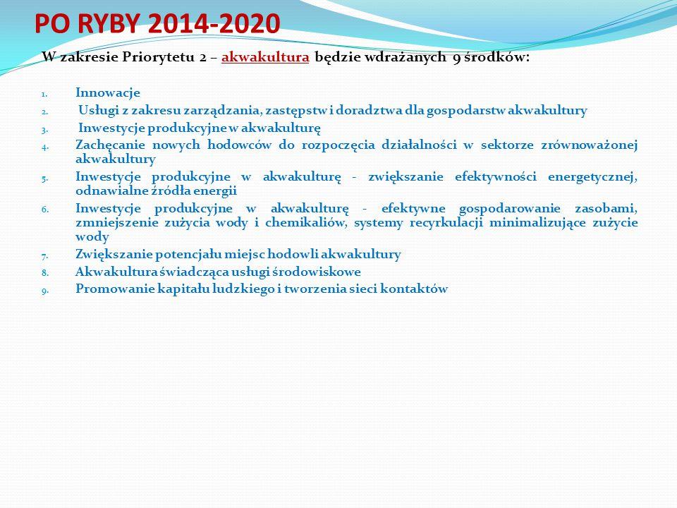 W zakresie Priorytetu 2 – akwakultura będzie wdrażanych 9 środków: 1. Innowacje 2. Usługi z zakresu zarządzania, zastępstw i doradztwa dla gospodarstw