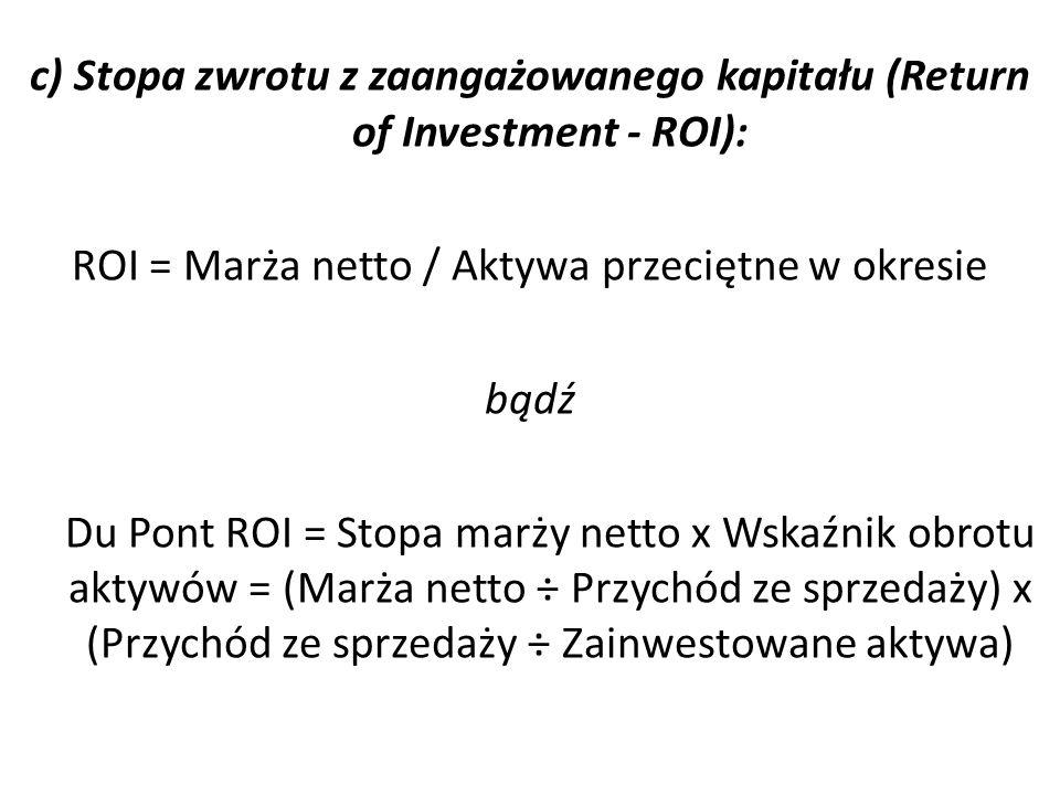 d) Zysk rezydualny Zysk rezydualny = marża netto – (wymagana stopa zwrotu x zainwestowane aktywa) e) Ekonomiczna wartość dodana EVA = [marża netto] – [koszt kapitału x zainwestowany kapitał] = [marża netto] – [koszt kapitału (aktywa przeciętne w okresie – nieoprocentowane zobowiązania bieżące)] bądź