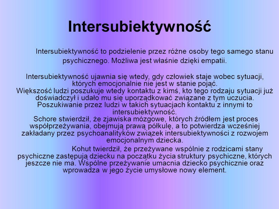 Intersubiektywność Intersubiektywność to podzielenie przez różne osoby tego samego stanu psychicznego. Możliwa jest właśnie dzięki empatii. Intersubie