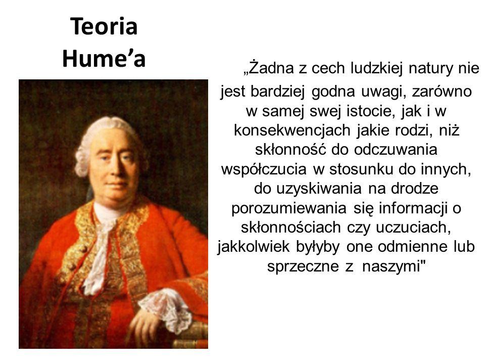 """Teoria Hume'a """"Żadna z cech ludzkiej natury nie jest bardziej godna uwagi, zarówno w samej swej istocie, jak i w konsekwencjach jakie rodzi, niż skłon"""