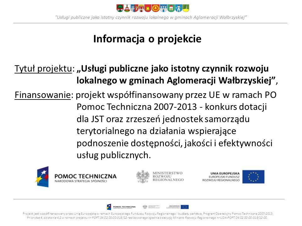 Usługi publiczne jako istotny czynnik rozwoju lokalnego w gminach Aglomeracji Wałbrzyskiej ETAP II – Wdrożenie - Opracowanie systemu pomiaru jakości usług publicznych wskaźniki monitoringu (31) jakości i dostępności usług publicznych w obszarach: -Edukacja i szkolnictwo – 8 wskaźników, -Zdrowie– 3 wskaźniki, -Kultura – 4 wskaźniki, -Gospodarka komunalna – 7 wskaźników, -Ochrona środowiska – 4 wskaźniki, -Komunikacja – 5 wskaźników.