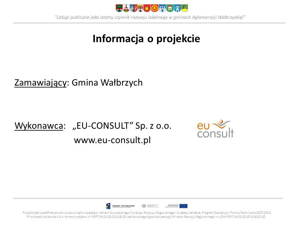 Usługi publiczne jako istotny czynnik rozwoju lokalnego w gminach Aglomeracji Wałbrzyskiej Cel główny projektu Projekt jest współfinansowany przez Unię Europejską w ramach Europejskiego Funduszu Rozwoju Regionalnego i budżetu państwa, Program Operacyjny Pomoc Techniczna 2007-2013 Priorytet 4, działanie 4.2 w ramach projektu nr POPT.04.02.00-00-318/12 realizowanego zgodnie z decyzją Ministra Rozwoju Regionalnego nr UDA-POPT.04.02.00-00-318/12-00.