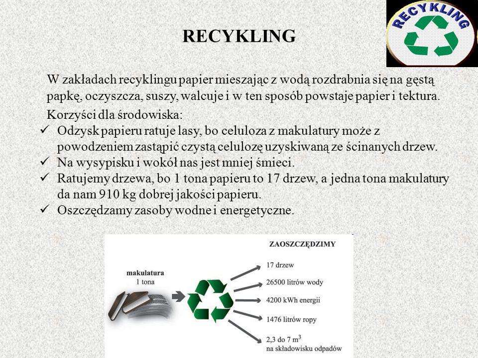 RECYKLING W zakładach recyklingu papier mieszając z wodą rozdrabnia się na gęstą papkę, oczyszcza, suszy, walcuje i w ten sposób powstaje papier i tektura.