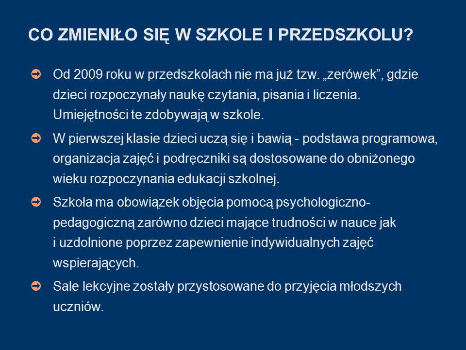 CO ZMIENIŁO SIĘ W SZKOLE I PRZEDSZKOLU. ➲ Od 2009 roku w przedszkolach nie ma już tzw.