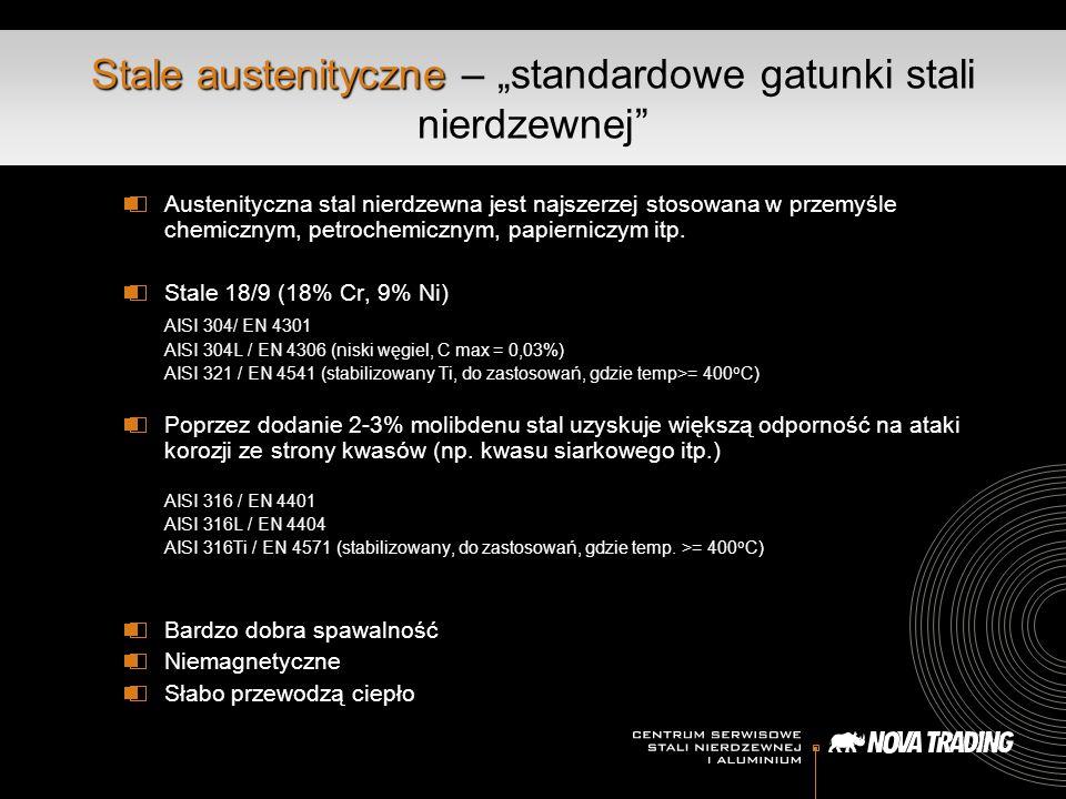 """Stale austenityczne Stale austenityczne – """"standardowe gatunki stali nierdzewnej Austenityczna stal nierdzewna jest najszerzej stosowana w przemyśle chemicznym, petrochemicznym, papierniczym itp."""