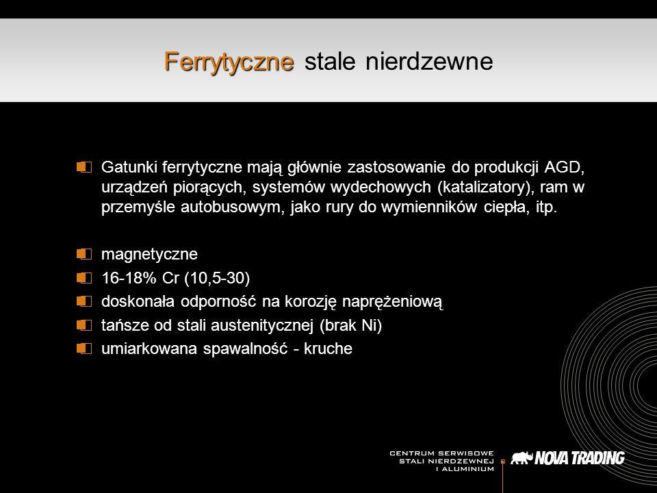 Ferrytyczne Ferrytyczne stale nierdzewne Gatunki ferrytyczne mają głównie zastosowanie do produkcji AGD, urządzeń piorących, systemów wydechowych (katalizatory), ram w przemyśle autobusowym, jako rury do wymienników ciepła, itp.