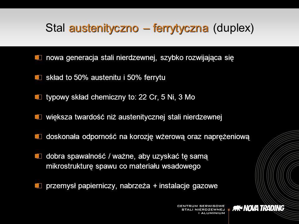 austenityczno – ferrytyczna Stal austenityczno – ferrytyczna (duplex) nowa generacja stali nierdzewnej, szybko rozwijająca się skład to 50% austenitu
