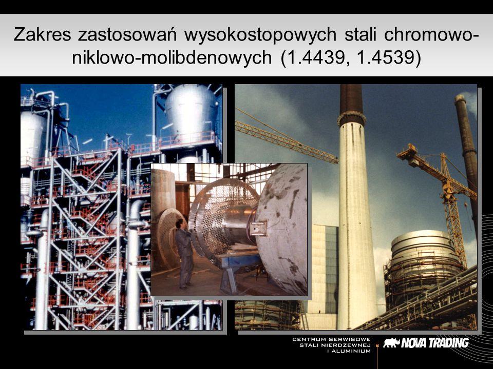 Zakres zastosowań wysokostopowych stali chromowo- niklowo-molibdenowych (1.4439, 1.4539)