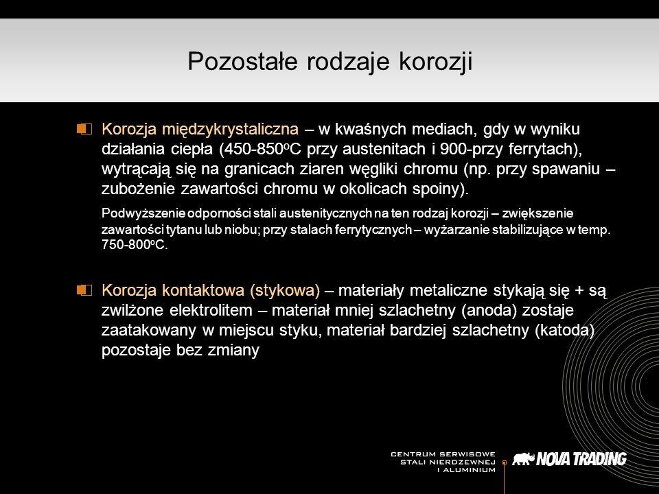 Korozja międzykrystaliczna – w kwaśnych mediach, gdy w wyniku działania ciepła (450-850 o C przy austenitach i 900-przy ferrytach), wytrącają się na granicach ziaren węgliki chromu (np.