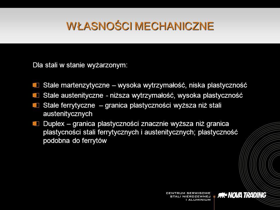 Dla stali w stanie wyżarzonym: Stale martenzytyczne – wysoka wytrzymałość, niska plastyczność Stale austenityczne - niższa wytrzymałość, wysoka plasty