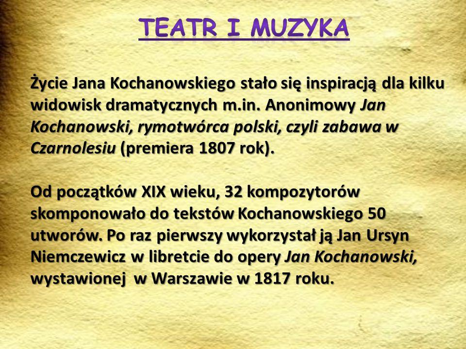 Życie Jana Kochanowskiego stało się inspiracją dla kilku widowisk dramatycznych m.in. Anonimowy Jan Kochanowski, rymotwórca polski, czyli zabawa w Cza
