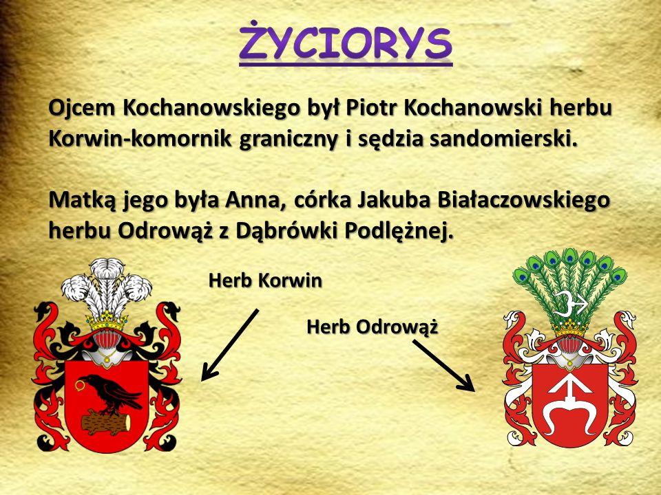 Ojcem Kochanowskiego był Piotr Kochanowski herbu Korwin-komornik graniczny i sędzia sandomierski. Matką jego była Anna, córka Jakuba Białaczowskiego h
