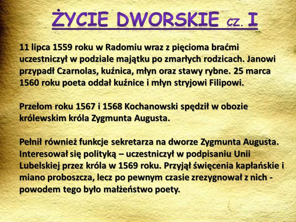 11 lipca 1559 roku w Radomiu wraz z pięcioma braćmi uczestniczył w podziale majątku po zmarłych rodzicach. Janowi przypadł Czarnolas, kuźnica, młyn or
