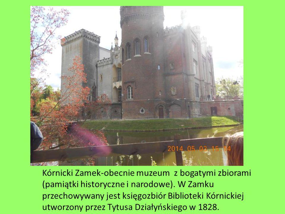 Kórnicki Zamek-obecnie muzeum z bogatymi zbiorami (pamiątki historyczne i narodowe). W Zamku przechowywany jest księgozbiór Biblioteki Kórnickiej utwo
