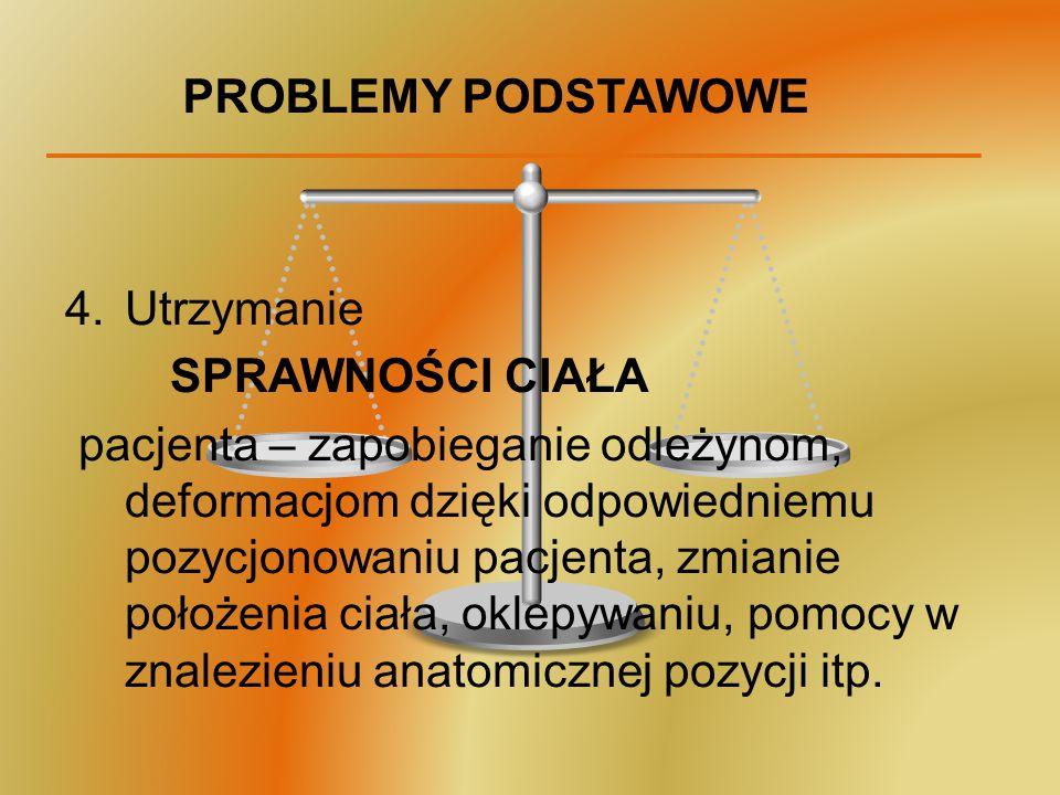 PROBLEMY PODSTAWOWE 4.Utrzymanie SPRAWNOŚCI CIAŁA pacjenta – zapobieganie odleżynom, deformacjom dzięki odpowiedniemu pozycjonowaniu pacjenta, zmianie