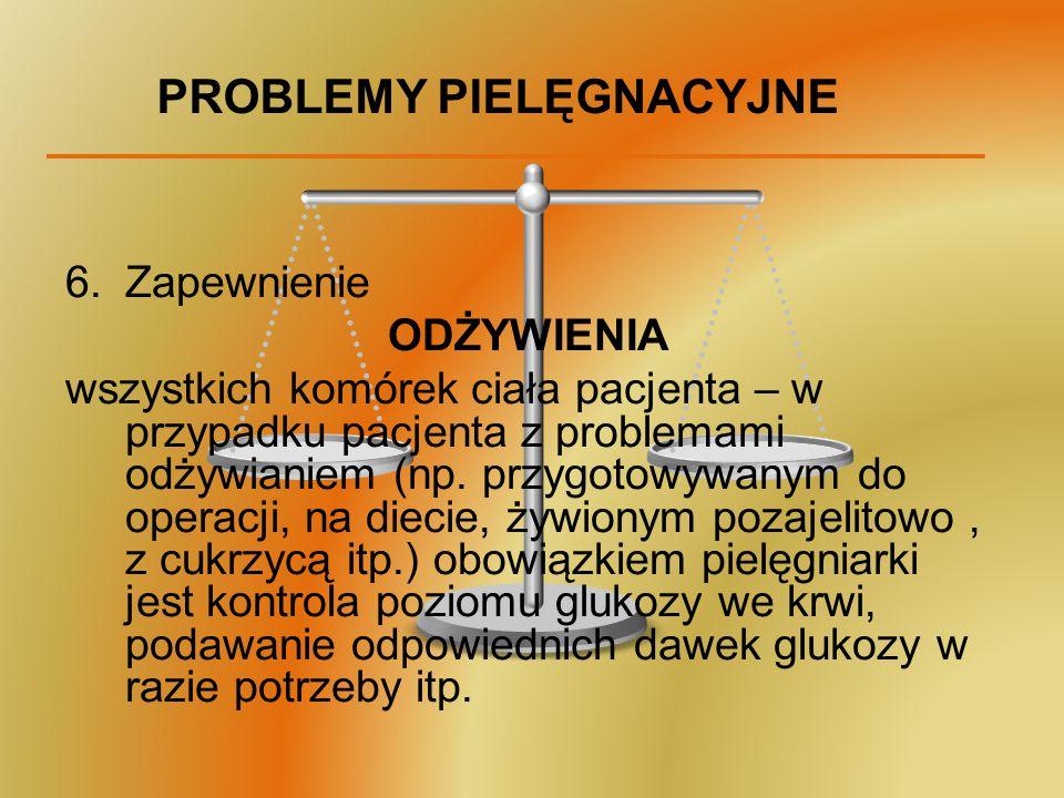 PROBLEMY PIELĘGNACYJNE 6.Zapewnienie ODŻYWIENIA wszystkich komórek ciała pacjenta – w przypadku pacjenta z problemami odżywianiem (np. przygotowywanym