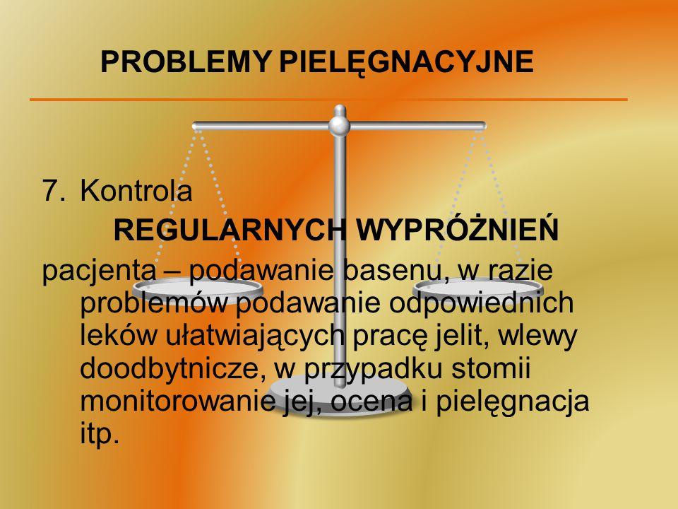 PROBLEMY PIELĘGNACYJNE 7.Kontrola REGULARNYCH WYPRÓŻNIEŃ pacjenta – podawanie basenu, w razie problemów podawanie odpowiednich leków ułatwiających pra