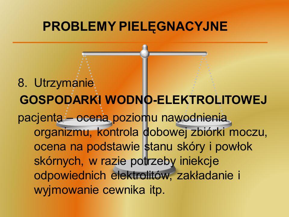 PROBLEMY PIELĘGNACYJNE 8.Utrzymanie GOSPODARKI WODNO-ELEKTROLITOWEJ pacjenta – ocena poziomu nawodnienia organizmu, kontrola dobowej zbiórki moczu, oc