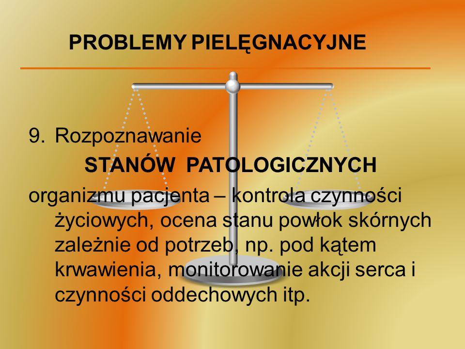 PROBLEMY PIELĘGNACYJNE 9.Rozpoznawanie STANÓW PATOLOGICZNYCH organizmu pacjenta – kontrola czynności życiowych, ocena stanu powłok skórnych zależnie o