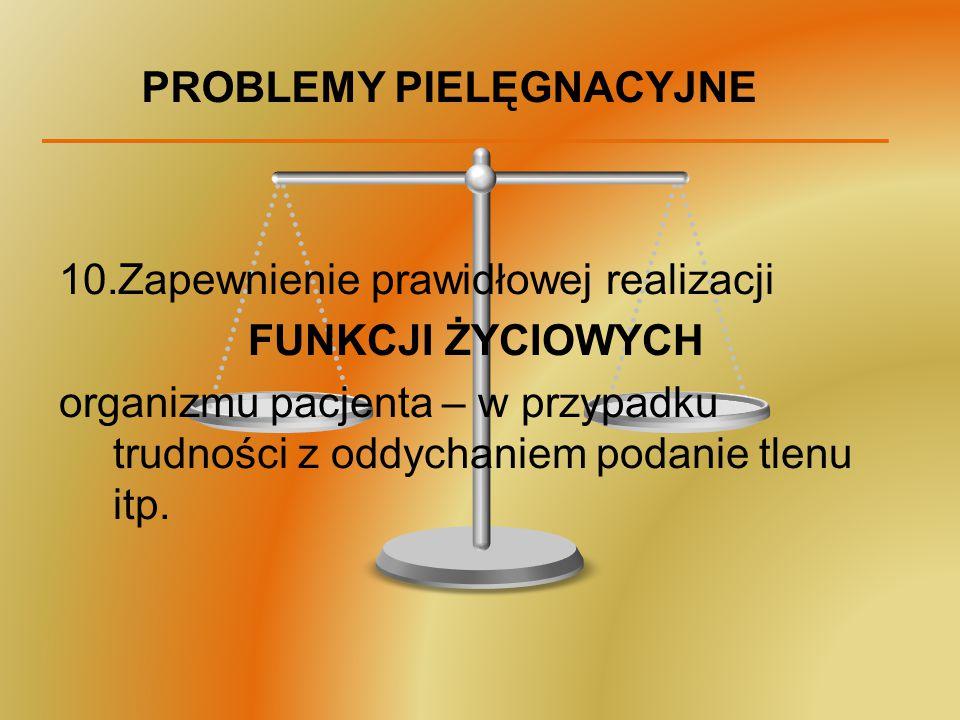 PROBLEMY PIELĘGNACYJNE 10.Zapewnienie prawidłowej realizacji FUNKCJI ŻYCIOWYCH organizmu pacjenta – w przypadku trudności z oddychaniem podanie tlenu