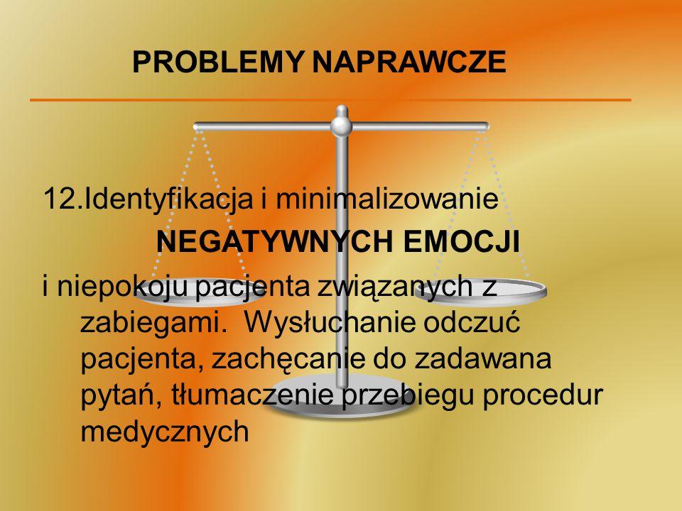 PROBLEMY NAPRAWCZE 12.Identyfikacja i minimalizowanie NEGATYWNYCH EMOCJI i niepokoju pacjenta związanych z zabiegami. Wysłuchanie odczuć pacjenta, zac