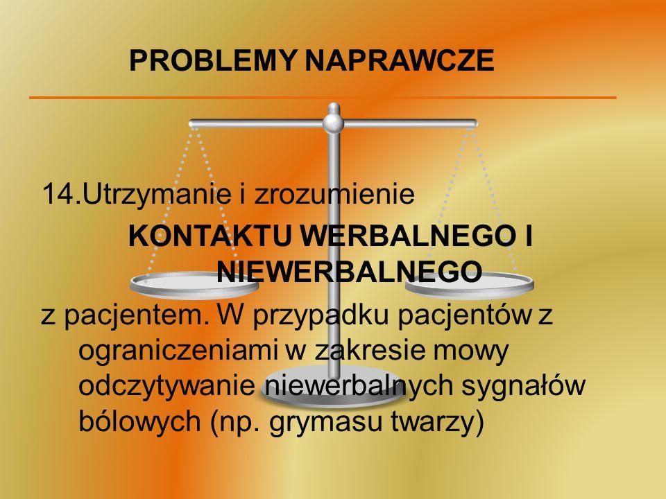 PROBLEMY NAPRAWCZE 14.Utrzymanie i zrozumienie KONTAKTU WERBALNEGO I NIEWERBALNEGO z pacjentem. W przypadku pacjentów z ograniczeniami w zakresie mowy