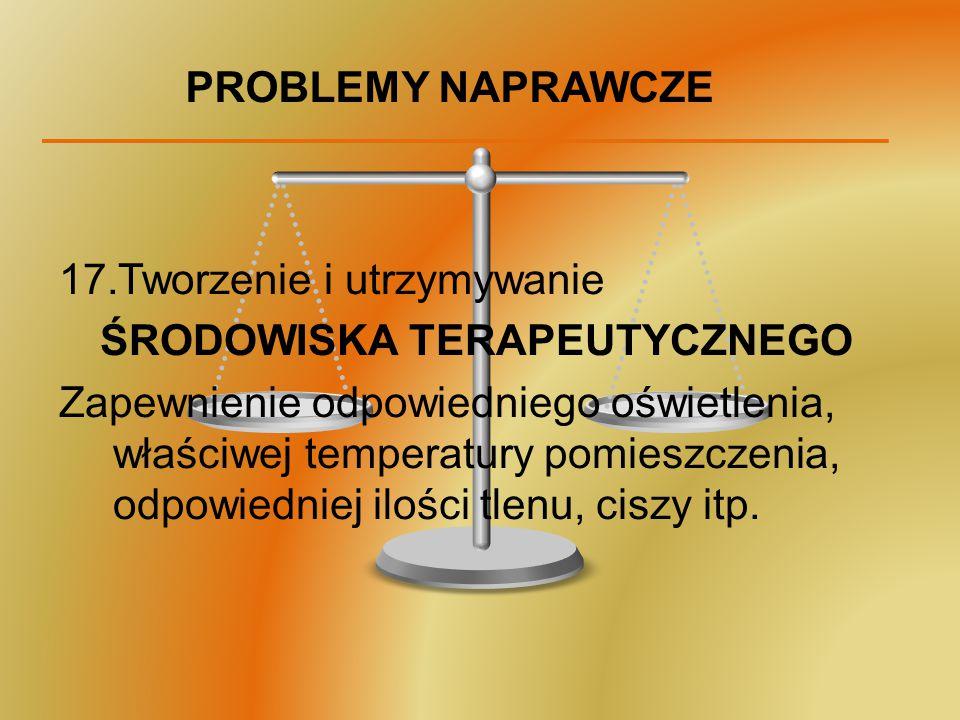 PROBLEMY NAPRAWCZE 17.Tworzenie i utrzymywanie ŚRODOWISKA TERAPEUTYCZNEGO Zapewnienie odpowiedniego oświetlenia, właściwej temperatury pomieszczenia,