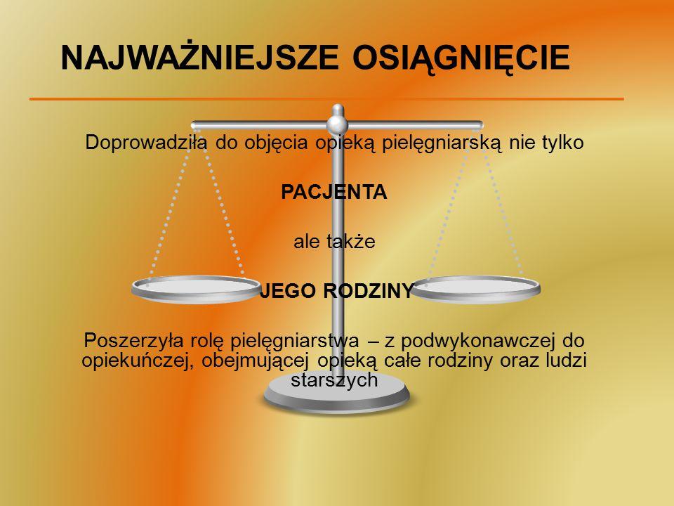 KOLEJNE KROKI W OPIECE NAD PACJENTEM 1.Rozpoznanie problemów pielęgnacyjnych 2.Wybór odpowiednich metod działania 3.Zapewnienie ciągłości opieki w zakresie wszystkich potrzeb pacjenta 4.Zapewnienie stałej opieki, aby łagodzić na bieżąco ból i dyskomfort 5.Indywidualizacja planu opieki zależnie od indywidualnych potrzeb pacjenta 6.Pomoc w dostosowaniu do ograniczeń związanych z chorobą i rozwiązywaniu problemów emocjonalnych W WYMIARZE SPOŁECZNYM POŁOŻENIE NACISKU NA PROFILAKTYKĘ