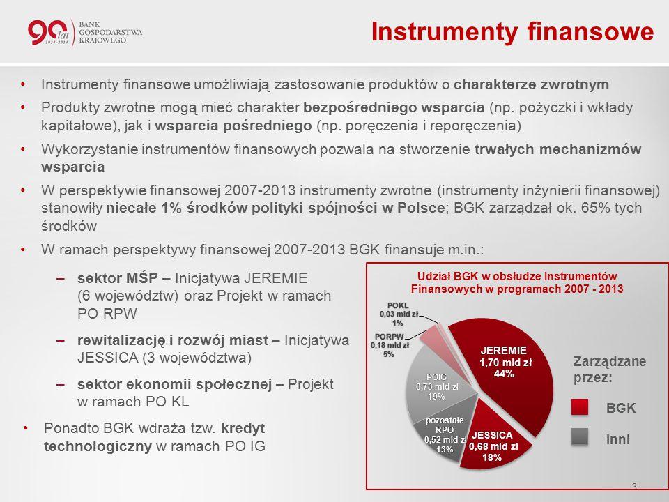 Instrumenty finansowe Instrumenty finansowe umożliwiają zastosowanie produktów o charakterze zwrotnym Produkty zwrotne mogą mieć charakter bezpośredniego wsparcia (np.