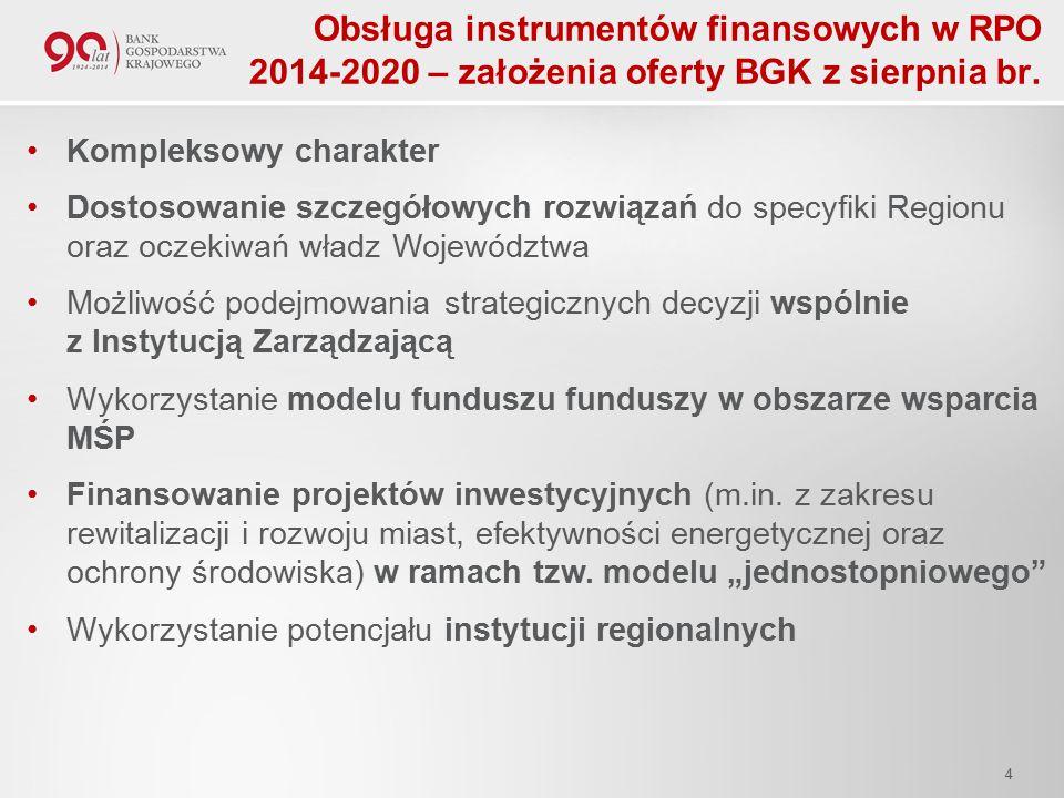 Obsługa instrumentów finansowych w RPO 2014-2020 – założenia oferty BGK z sierpnia br.