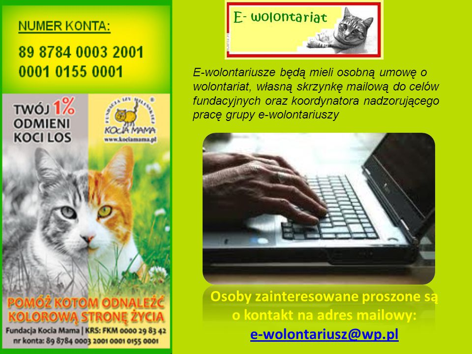 Osoby zainteresowane proszone są o kontakt na adres mailowy: e-wolontariusz@wp.pl e-wolontariusz@wp.pl E-wolontariusze będą mieli osobną umowę o wolontariat, własną skrzynkę mailową do celów fundacyjnych oraz koordynatora nadzorującego pracę grupy e-wolontariuszy