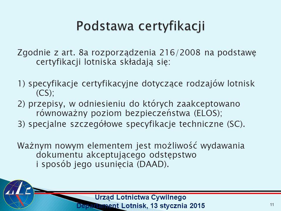 Zgodnie z art. 8a rozporządzenia 216/2008 na podstawę certyfikacji lotniska składają się: 1) specyfikacje certyfikacyjne dotyczące rodzajów lotnisk (C